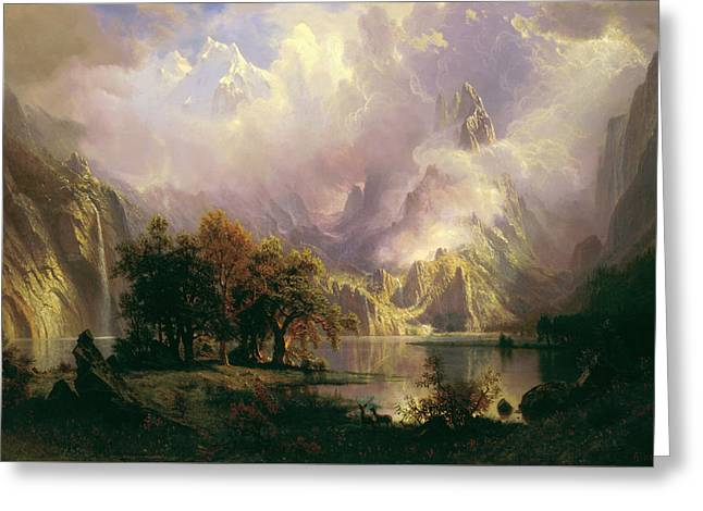 Landscape Painter Greeting Cards - Rocky Mountain Landscape Greeting Card by Albert Bierstadt