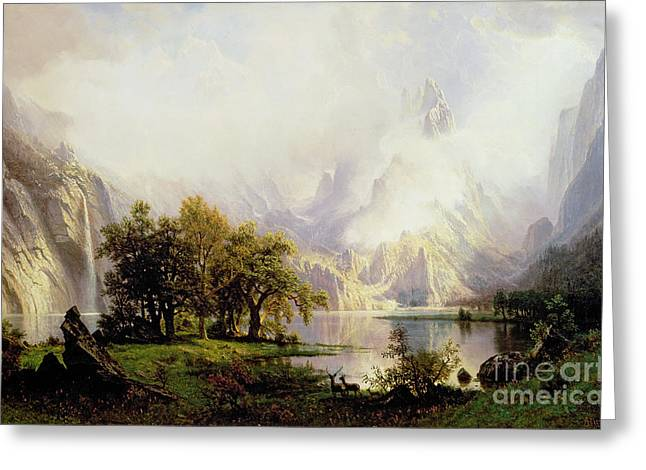 Foggy Landscape Greeting Cards - Rocky Mountain Landscape Greeting Card by Albert Bierstadt