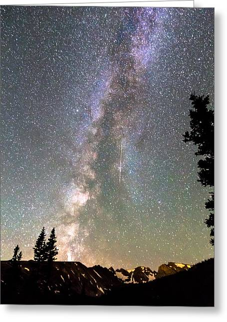 Constellations Greeting Cards - Rocky Mountain Milky Way and Falling Star Greeting Card by James BO  Insogna