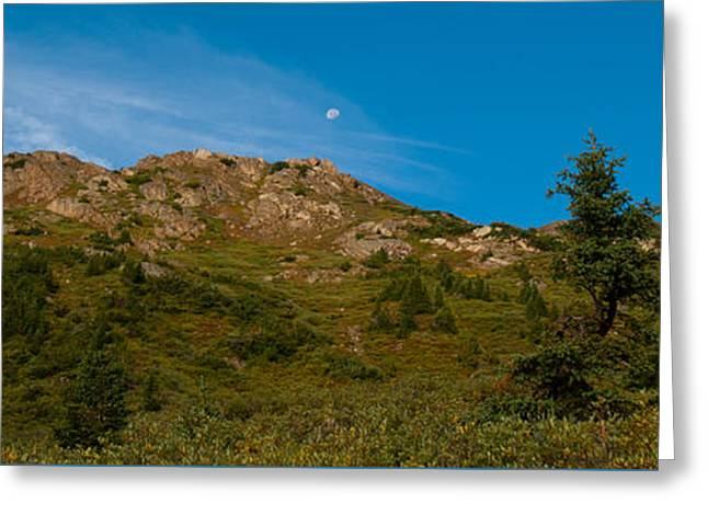 Mountains Ceramics Greeting Cards - Rocky Mountain Moon at Sunrise Greeting Card by Cascade Colors