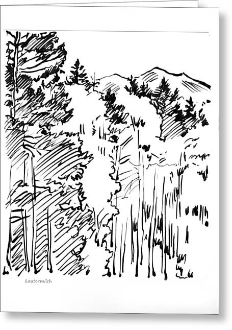 Ink Sketch Drawings Greeting Cards - Rocky Mountain Sketch Greeting Card by John Lautermilch
