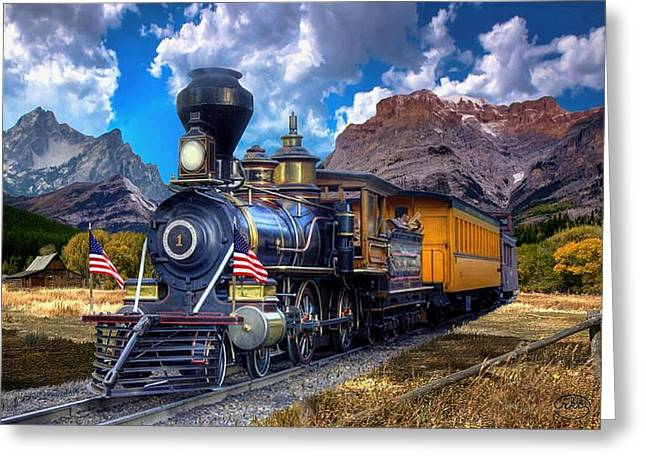 Rocky Mountain Train Greeting Card by Ron Chambers
