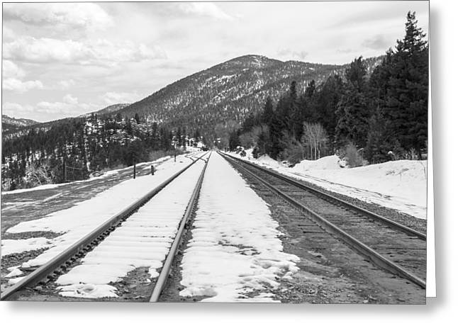 Denver Pyrography Greeting Cards - Rocky Mountains Denver Colorado - Train Track Greeting Card by Celal Yesilada