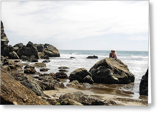 Couple On Beach Greeting Cards - Rocky Romance Greeting Card by Donna Blackhall