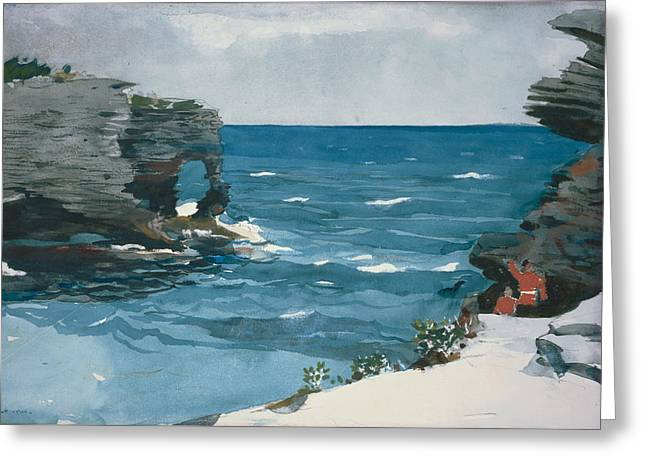 Rocky Shore, Bermuda Greeting Card by Winslow Homer