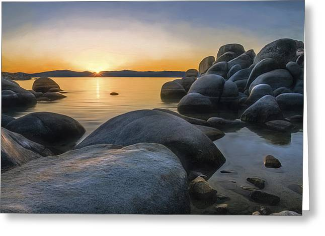Reflecting Water Greeting Cards - Rocky Shore Greeting Card by Maria Coulson