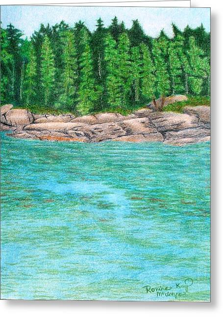Maine Landscape Drawings Greeting Cards - Rocky Shore Greeting Card by Ronine McIntyre