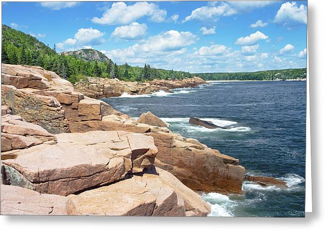 Maine Islands Greeting Cards - Rocky Summer Seascape Acadia National Park Photograph Greeting Card by Keith Webber Jr