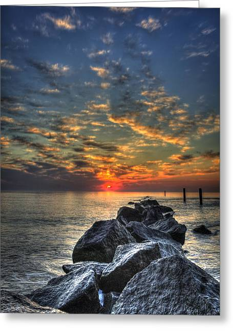 On The Beach Greeting Cards - Rocky Sunrise Tybee Island 2 Greeting Card by Reid Callaway