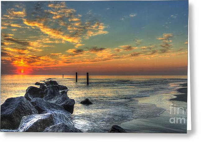 On The Beach Greeting Cards - Rocky Sunrise Tybee Island Georgia  Greeting Card by Reid Callaway