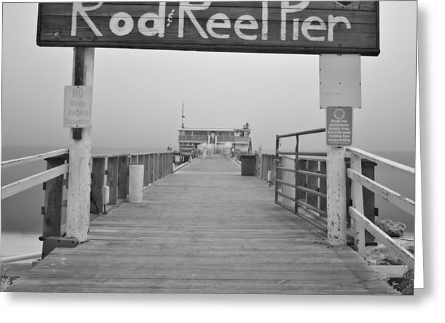 Anna Maria Island Greeting Cards - Rod And Reel Pier in Fog in Infrared 53 Greeting Card by Rolf Bertram