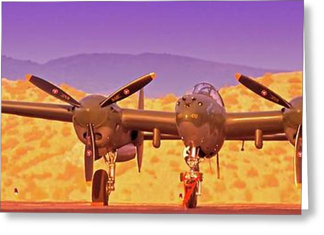 Owner Digital Art Greeting Cards - Rod Lewis Lockheed Lightning  Glacier Girl       Greeting Card by Gus McCrea