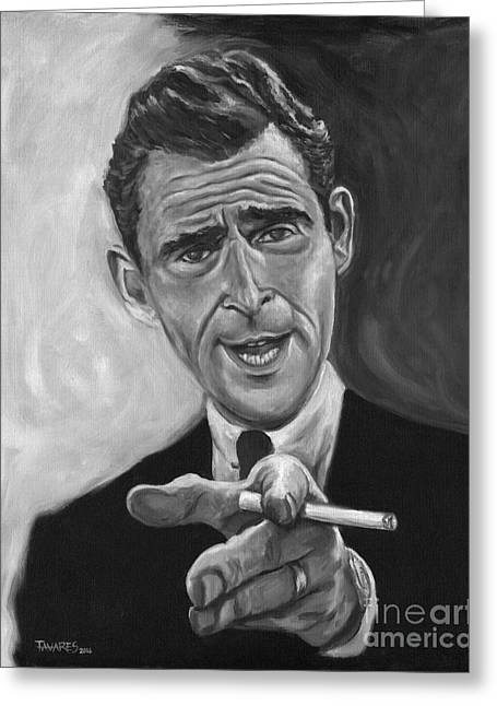 Rod Serling Greeting Card by Mark Tavares