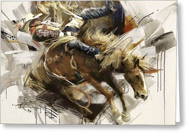 Arlington Greeting Cards - Rodeo 10 Greeting Card by Maryam Mughal