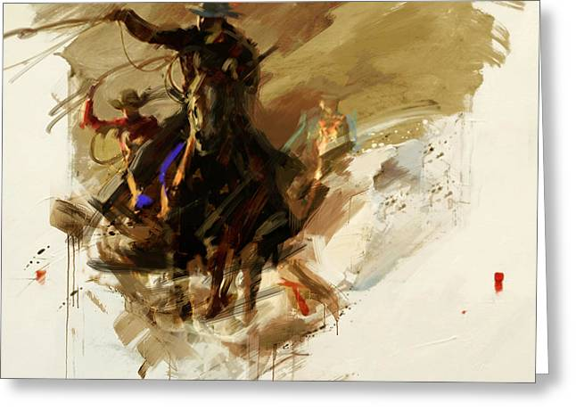 Las Vegas Art Greeting Cards - Rodeo 13 Greeting Card by Maryam Mughal