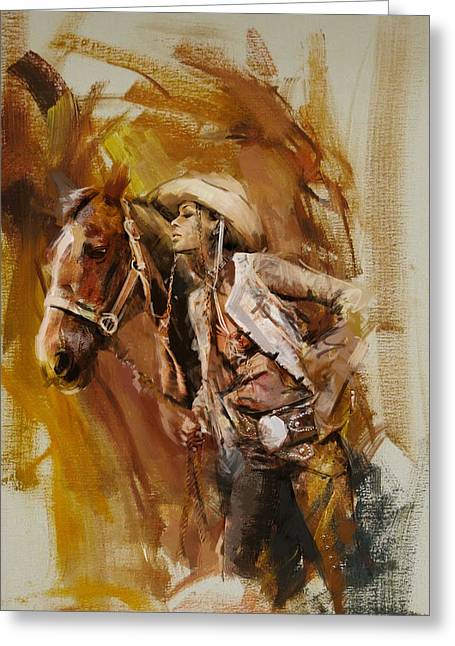 Rodeo 21 Greeting Card by Maryam Mughal