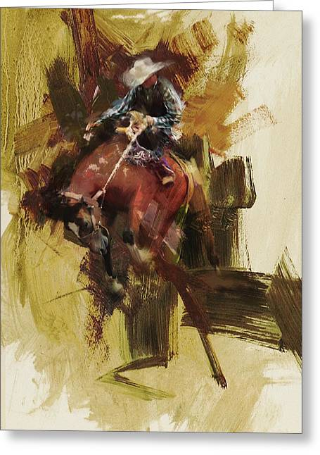 Arlington Greeting Cards - Rodeo 23 Greeting Card by Maryam Mughal