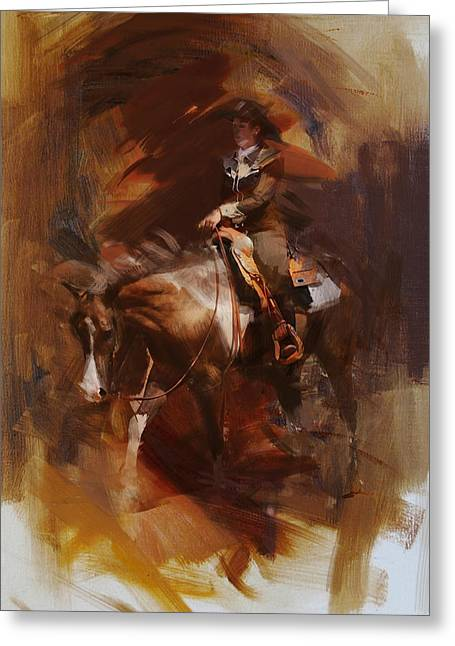 Animal Sport Greeting Cards - Rodeo 24 Greeting Card by Maryam Mughal