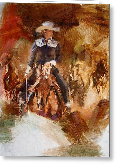 Arlington Greeting Cards - Rodeo 26 Greeting Card by Maryam Mughal