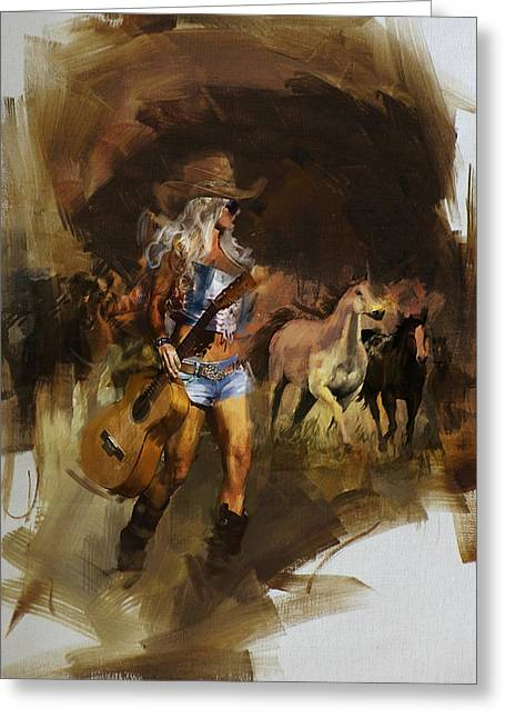 Star Valley Greeting Cards - Rodeo 28 Greeting Card by Maryam Mughal