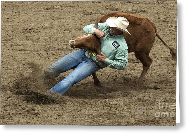 Steer Greeting Cards - Rodeo Steer Wrestling 8 Greeting Card by Bob Christopher