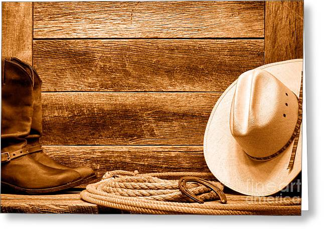 Rodeo Still Life - Sepia Greeting Card by Olivier Le Queinec
