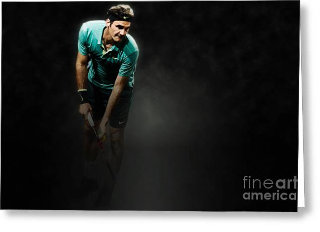 Roger Federer Digital Art Greeting Cards - Rodger Federer Greeting Card by Yordan Rusev