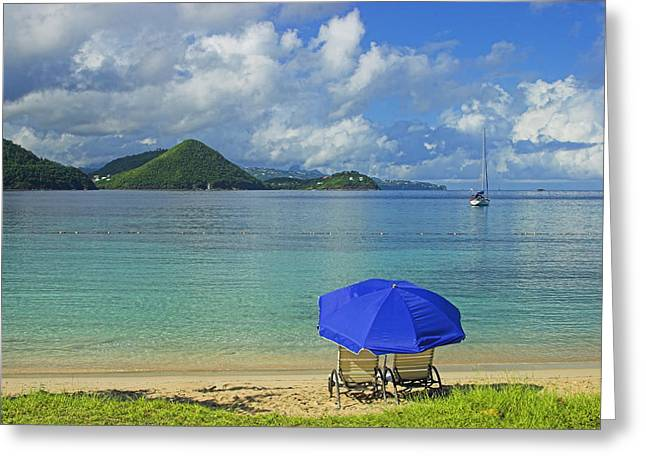 Recently Sold -  - Empty Chairs Greeting Cards - Rodney Bay- St Lucia Greeting Card by Chester Williams