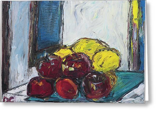 Van Gogh Style Greeting Cards - Rodrigos Apples Greeting Card by Dan Castle