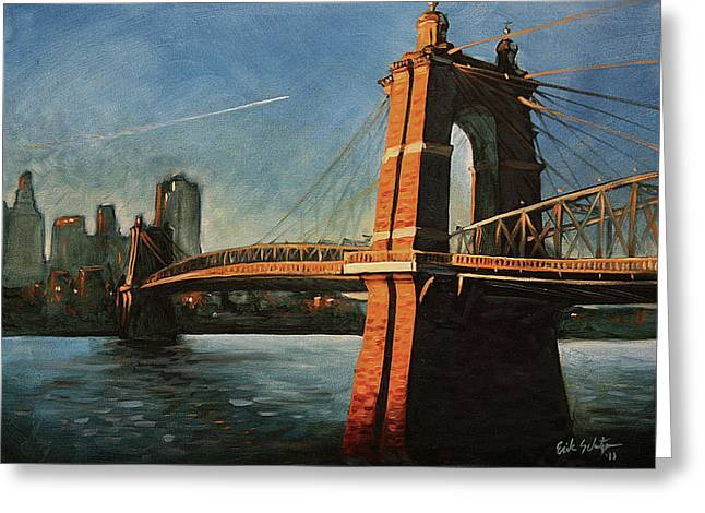 Roebling Bridge No.1 Greeting Card by Erik Schutzman