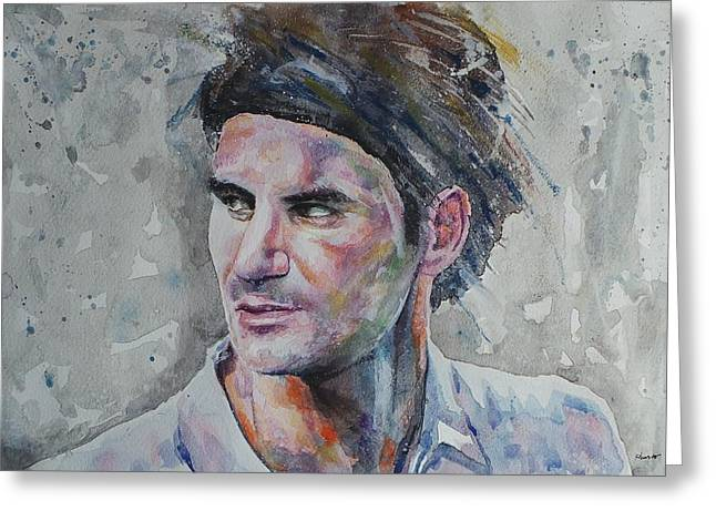 French Open Paintings Greeting Cards - Roger Federer - Portrait 5 Greeting Card by Baresh Kebar - Kibar