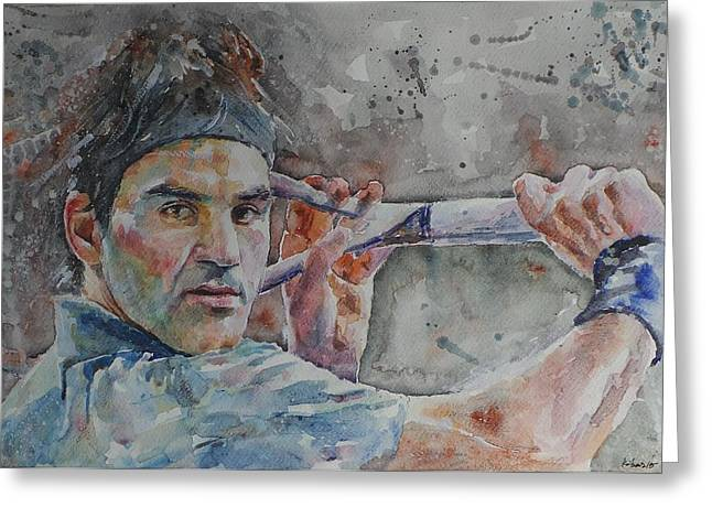 French Open Paintings Greeting Cards - Roger Federer - Portrait 6 Greeting Card by Baresh Kebar - Kibar