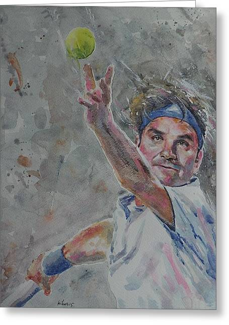 French Open Paintings Greeting Cards - Roger Federer - Portrait 7 Greeting Card by Baresh Kebar - Kibar