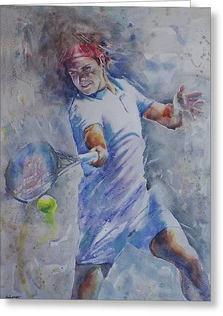 Roger Federer Paintings Greeting Cards - Roger Federer - Portrait 8 Greeting Card by Baresh Kebar - Kibar
