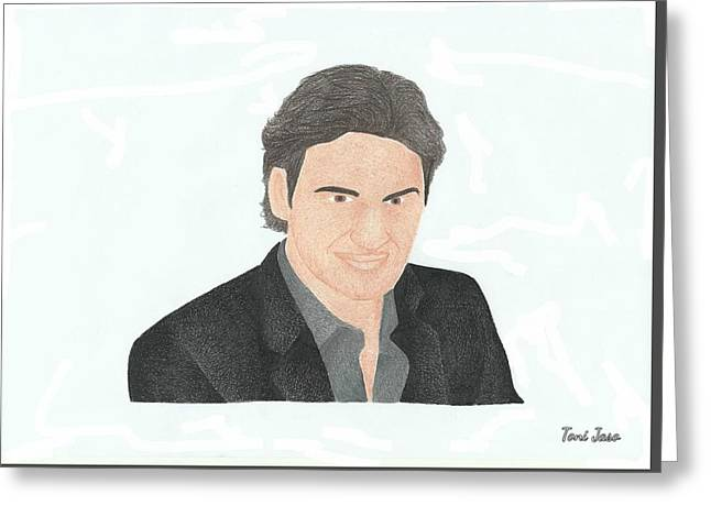 Wimbledon Drawings Greeting Cards - Roger Federer Greeting Card by Toni Jaso