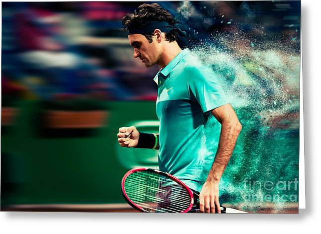 Roger Federer Digital Art Greeting Cards - Roger Federer Greeting Card by Yordan Rusev