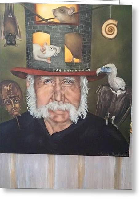 Rogers Greeting Cards - Roger Swezey temp photo of painting Greeting Card by Leah Saulnier The Painting Maniac
