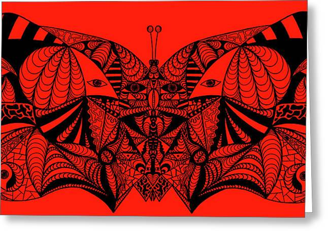 Kenal Louis Paintings Greeting Cards - Roger The Butterfly Greeting Card by Kenal Louis