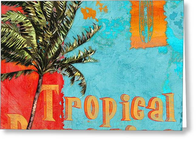 """tropical Trees"" Greeting Cards - Rojo Palm I Greeting Card by Paul Brent"