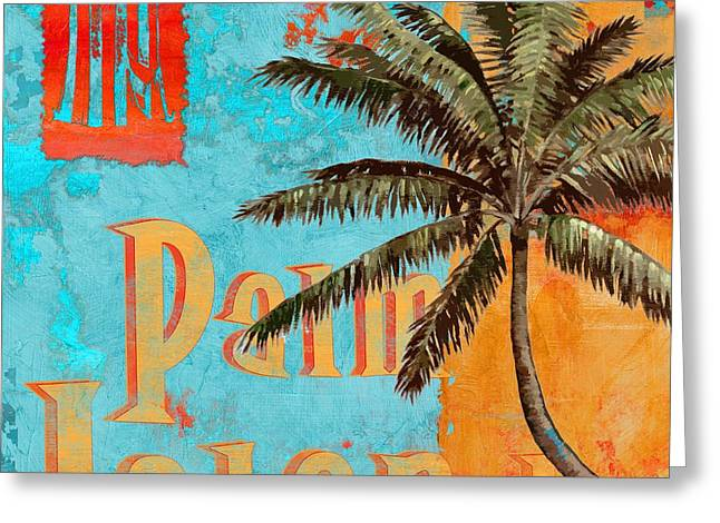 """tropical Trees"" Greeting Cards - Rojo Palm II Greeting Card by Paul Brent"
