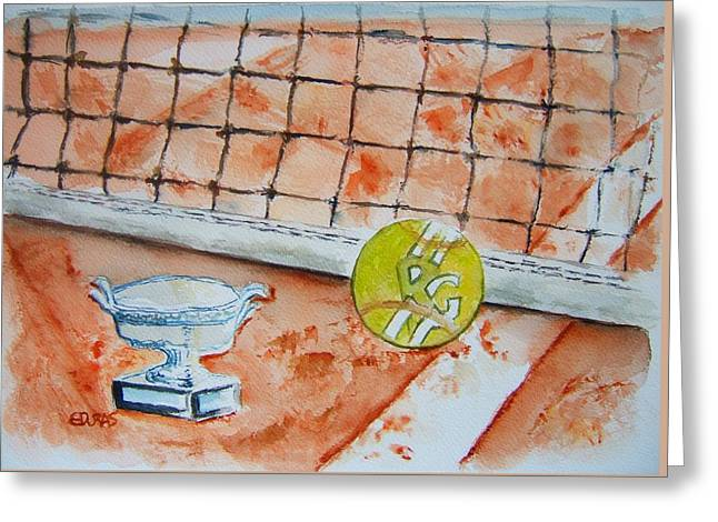 French Open Paintings Greeting Cards - Roland Garros Greeting Card by Elaine Duras