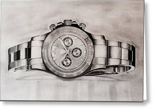 Wimbledon Drawings Greeting Cards - Rolex Greeting Card by Krishna Regula
