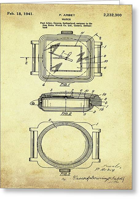 Rolex Watch Patent 1941 In Sepia Greeting Card by Bill Cannon