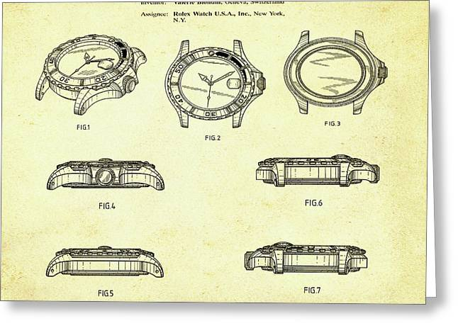 Rolex Watch Patent 1999 In Sepia Greeting Card by Bill Cannon