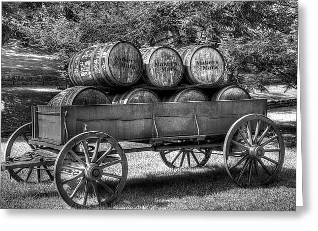 Roll Out The Barrels Black And White Greeting Card by Tri State Art