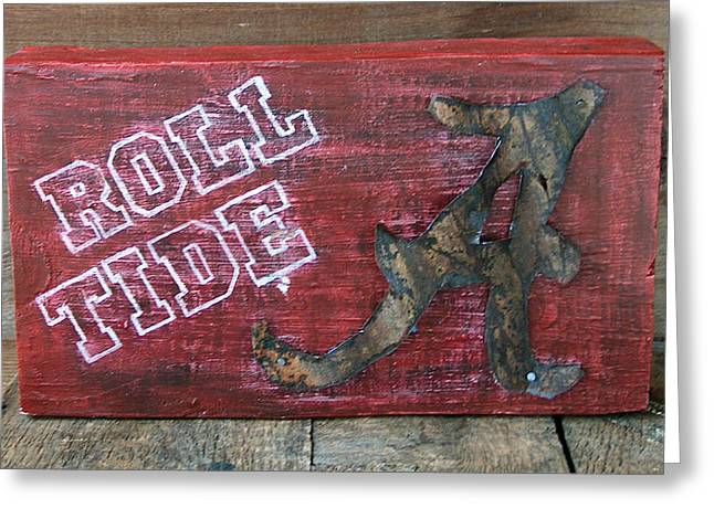 Crimson Tide Mixed Media Greeting Cards - Roll Tide - Large Greeting Card by Racquel Morgan