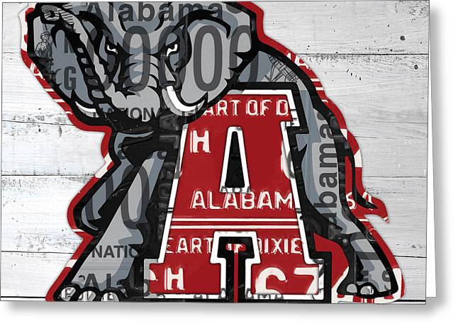 Roll Tide Alabama Crimson Tide Recycled State License Plate Art Greeting Card by Design Turnpike