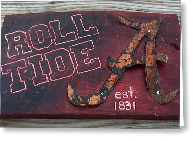 Roll Tide Alabama Greeting Card by Racquel Morgan