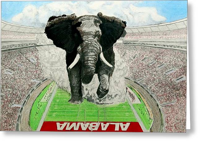Crimson Drawings Greeting Cards - Roll Tide Greeting Card by Martin Lagewaard
