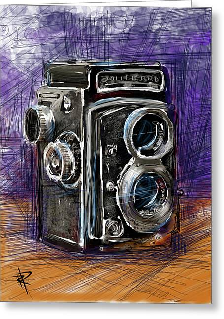 Lens Mixed Media Greeting Cards - Rollei Greeting Card by Russell Pierce